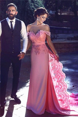 Candy Pink Lace Evening Gowns  Off-the-Shoulder Long A-Line Prom Dresses MH083_3