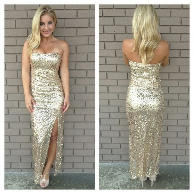 Golden Sequined  Sexy Long Evening Dresses with Side Slit Bridesmaids Dresses_2