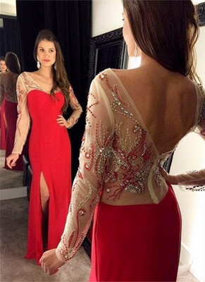 Vintage Red Long Sleeve Evening Gown Sheath Beading Side Slit Party Dress_1