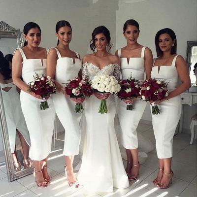 Straps White Tea Length Modest Sleeveless Bodycon Bridesmaid Dress_3