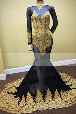 Black Mermaid Long Sleeves Prom Dresses  Gold Applique High Neck Illusion Evening Gowns MQ0045_1