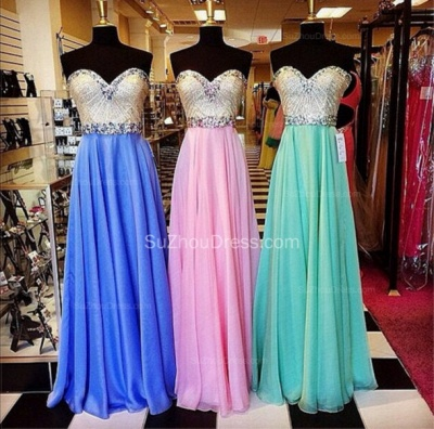 Sweetheart Sequines A-Line Beautiful Evening Dresses  Crystal Floor Length Prom Gowns_2