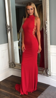 Red Sleeveless Sweep Train Evening Gown Modern High Neck Mermaid Prom Dress_5