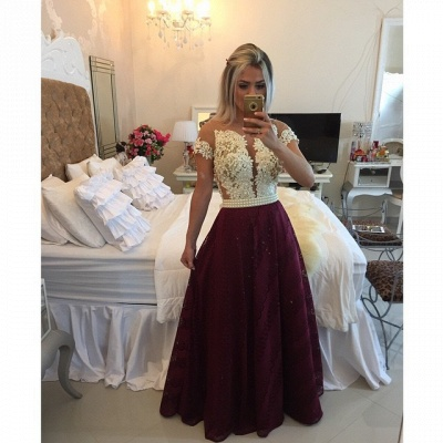 Burgundy Prom Dresses Short Sleeve Lace Evening Gowns with Pearls BMT009a_3