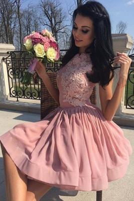New Arrival Pink A-line Sleeveless Homecoming Dresses Appliques Short Cocktail Dresses_3