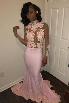 Sexy Mermaid Pink High Neck Prom Dresses  Long Sleeves Appliques Evening Gowns with Beadings SK0111_1