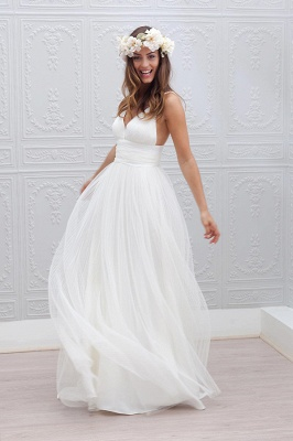 Elegant Simple V-neck Spaghetti Straps Wedding Dress Open Back Summer Formal Dresses BA3218_4