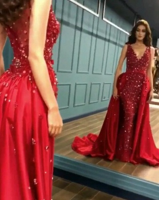 Gorgeous Red Crystal Mermaid Prom Dress Long Overskirt Evening Gowns_2