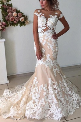 Champagne Pink Lace Appliques Wedding Dresses  | Short Sleeves Mermaid Backless Bridal Dress_1