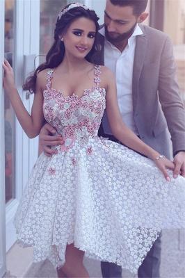 Lace Asymmetrical Flowers Appliques  Homecoming Dresses Straps  Hoco Dress_1