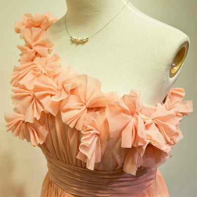A-line One Shoulder Chiffon Applique Prom Dress Ruffled Sweep Train Lovely Evening Gowns with Flowers_3