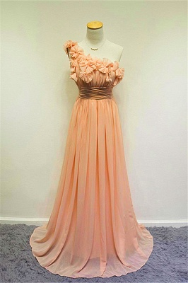 A-line One Shoulder Chiffon Applique Prom Dress Ruffled Sweep Train Lovely Evening Gowns with Flowers_2