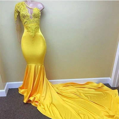 New Arrival Yellow One Shoulder Mermaid Prom Dresses  Long Sleeves Appliques Evening Dresses BA7778_3