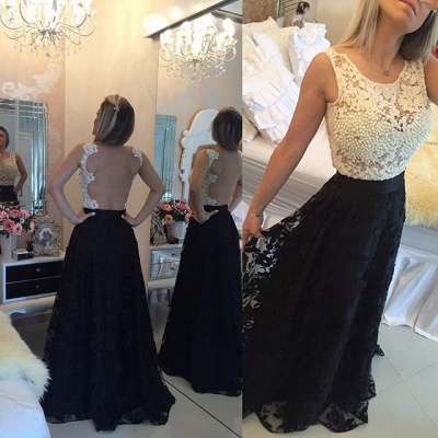 Black and White Lace Prom Dress Pearls Sleeveless Stitching Color Evening Gown_4