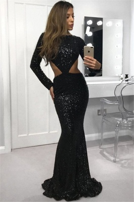 Sexy Open Back Black Sequins Evening Dresses |  Sheath Long Sleeve Prom Dresses_1