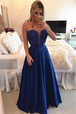 Royal Blue Sheer Tulle Plus Size Prom Dresses with Beads Latest Yellow Long Evening Party Dress BMT018_2