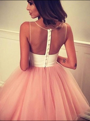 Short A-line Sleeveless Homecoming Dress | Tulle Appliques Hoco Dress with Buttons_4