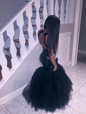 Black Sequins Mermaid Halter Evening Dresses  Sleeveless Tulle Prom Dress CE0032_4