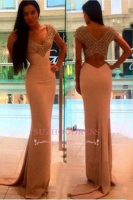 Crystal V-Neck Sexy Short-Sleeves Sheath Prom Dress BA4602_2