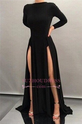 Black Long Sheath High Neck Formal Dress Long Sleeve Sexy Front Splits Evening Gowns  BA4519_1
