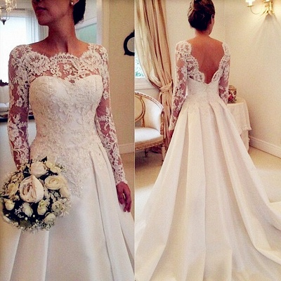Long Sleeve Lace Wedding Dresses Open Back Satin Elegant A Line Bridal Gowns_1
