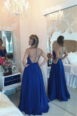 Royal Blue Sheer Tulle Plus Size Prom Dresses with Beads Latest Yellow Long Evening Party Dress BMT018_3