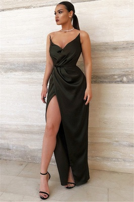 Sexy Black V-Neck Sheath Evening Dresses | Side Slit Sheath Ruffles Prom Dress_1