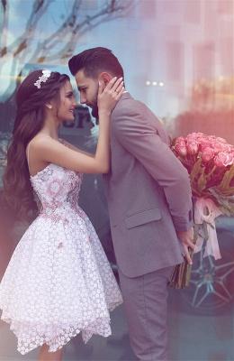 Lace Asymmetrical Flowers Appliques  Homecoming Dresses Straps  Hoco Dress_3