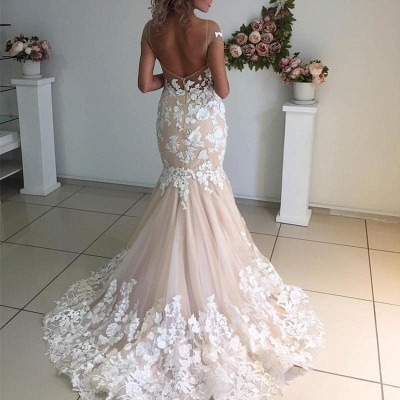 Champagne Pink Lace Appliques Wedding Dresses  | Short Sleeves Mermaid Backless Bridal Dress_4