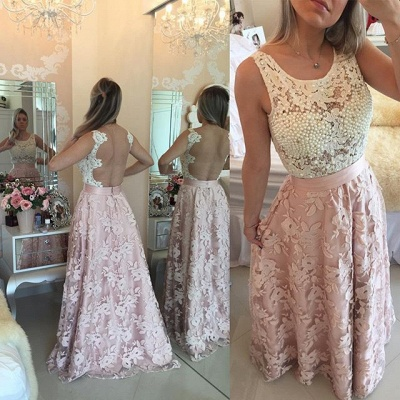 Black and White Lace Prom Dress Pearls Sleeveless Stitching Color Evening Gown_3