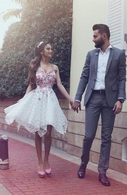 Lace Asymmetrical Flowers Appliques  Homecoming Dresses Straps  Hoco Dress_5
