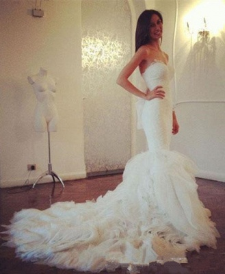 White Lace Sexy Mermaid Sweetheart Wedding Dress Beautiful Court Train Tulle Long Bridal Gown_1