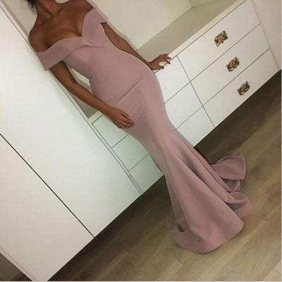 Off The Shoulder Ruffles Mermaid Formal Evening Dress  Pink Sexy Long Prom Dresses BA6355_3