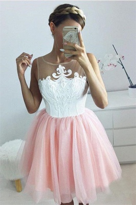 Short A-line Sleeveless Homecoming Dress | Tulle Appliques Hoco Dress with Buttons_3