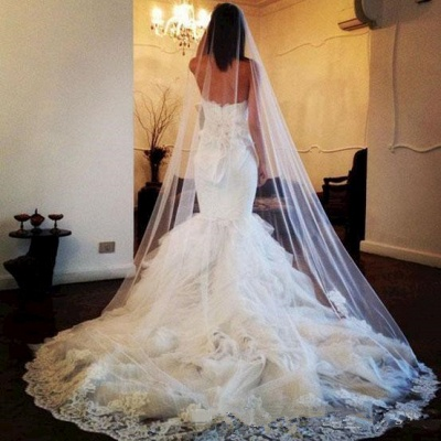 White Lace Sexy Mermaid Sweetheart Wedding Dress Beautiful Court Train Tulle Long Bridal Gown_2
