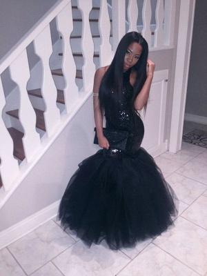 Black Sequins Mermaid Halter Evening Dresses  Sleeveless Tulle Prom Dress CE0032_3