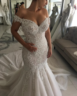 Alluring Off-the-Shoulder Backless Wedding Dresses Beaded Mermaid Bridal Gowns Online_3