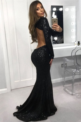 Sexy Open Back Black Sequins Evening Dresses |  Sheath Long Sleeve Prom Dresses_3