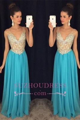 Popular Crystal Ruffles Sexy V-Neck Sleevelesss Prom Dresses  GA075_3