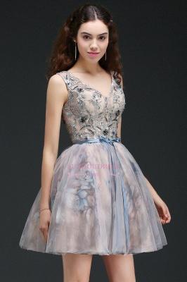 Lace-up Short Sleeveless Cute Belt Straps Flowers Homecoming Dress_6