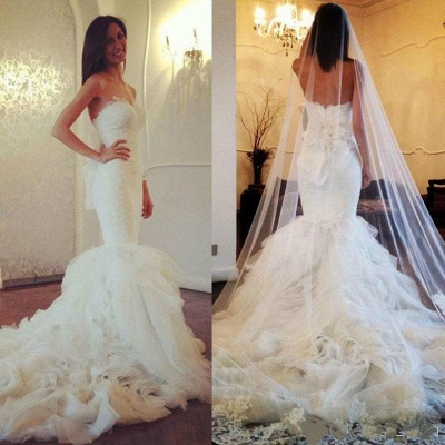 White Lace Sexy Mermaid Sweetheart Wedding Dress Beautiful Court Train Tulle Long Bridal Gown_3