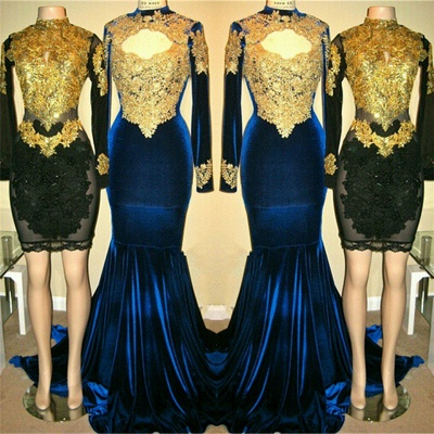 Long Sleeves Mermaid Velvet Long Prom Dresses | High Neck Appliques Sheath Short Party Dress_3