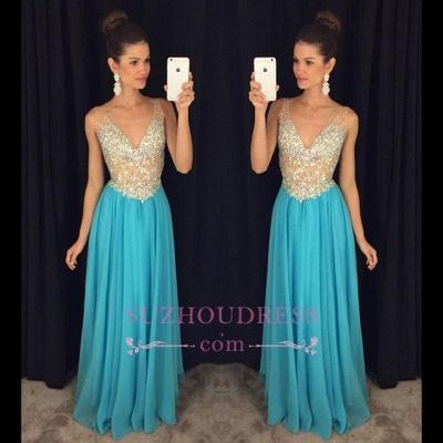 Popular Crystal Ruffles Sexy V-Neck Sleevelesss Prom Dresses  GA075_1
