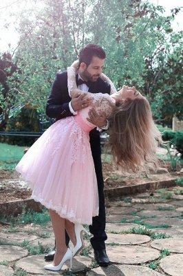 Cute Pink Long Sleeve Homecoming Dress Belt Tea Length  Cocktail Dresses BA3770_1