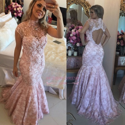 Pink Lace High-Neck Evening Dresses  | Cap-Sleeves Beaded Open-Back Prom Dresses_1