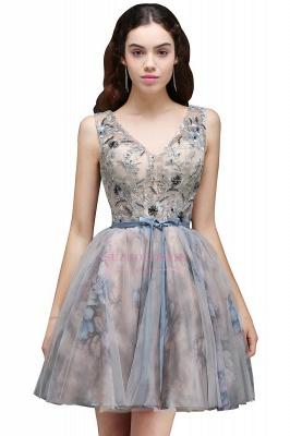 Lace-up Short Sleeveless Cute Belt Straps Flowers Homecoming Dress_3