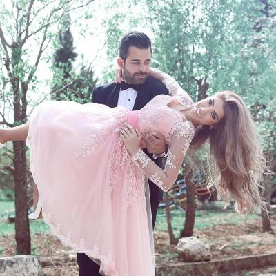 Cute Pink Long Sleeve Homecoming Dress Belt Tea Length  Cocktail Dresses BA3770_3