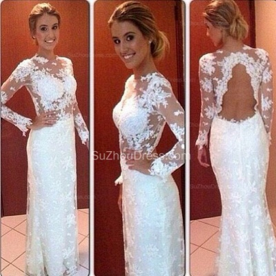 Long Sleeve Sheath Lace Wedding Dresses  Floor Length Simple Bridal Gowns_2