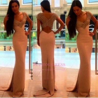 Crystal V-Neck Sexy Short-Sleeves Sheath Prom Dress BA4602_1