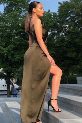 Sexy Black V-Neck Sheath Evening Dresses | Side Slit Sheath Ruffles Prom Dress_4